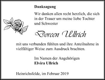 Traueranzeige für Doreen Ullrich vom 09.02.2019 aus Märkischen Allgemeine Zeitung