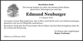 Traueranzeige für Edmund Neuburger vom 02.02.2019 aus Aller Zeitung