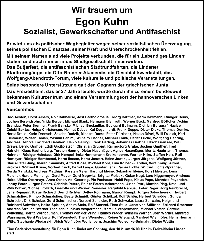 Traueranzeige für Egon Kuhn vom 09.02.2019 aus Hannoversche Allgemeine Zeitung/Neue Presse