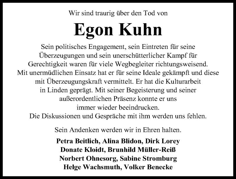 Traueranzeige für Egon Kuhn vom 06.02.2019 aus Hannoversche Allgemeine Zeitung/Neue Presse