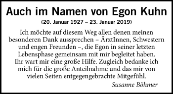 Traueranzeige für Egon Kuhn vom 16.02.2019 aus Hannoversche Allgemeine Zeitung/Neue Presse