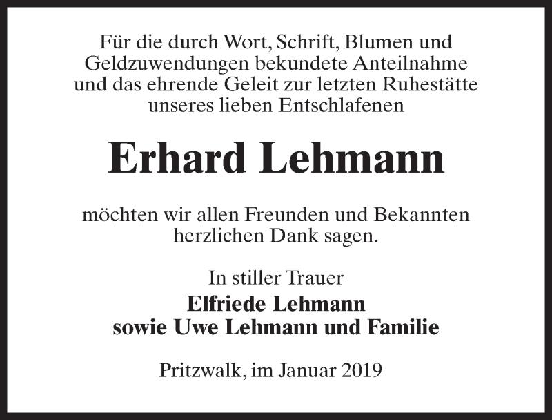 Traueranzeige für Erhard Lehmann vom 02.02.2019 aus Märkischen Allgemeine Zeitung