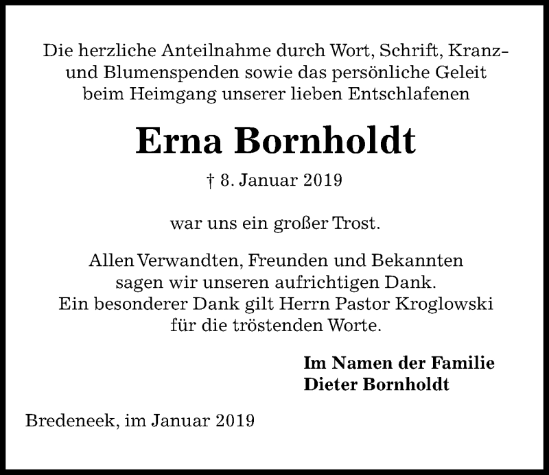 Traueranzeige für Erna Bornholdt vom 26.01.2019 aus Kieler Nachrichten