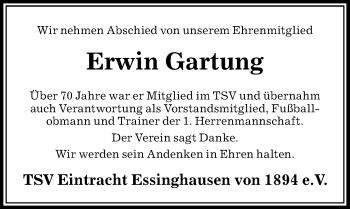 Traueranzeige für Erwin Gartung vom 06.02.2019 aus Peiner Allgemeine Zeitung