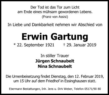 Traueranzeige für Erwin Gartung vom 05.02.2019 aus Peiner Allgemeine Zeitung