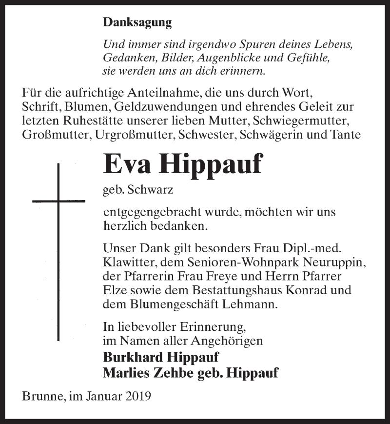 Traueranzeige für Eva Hippauf vom 26.01.2019 aus Märkischen Allgemeine Zeitung