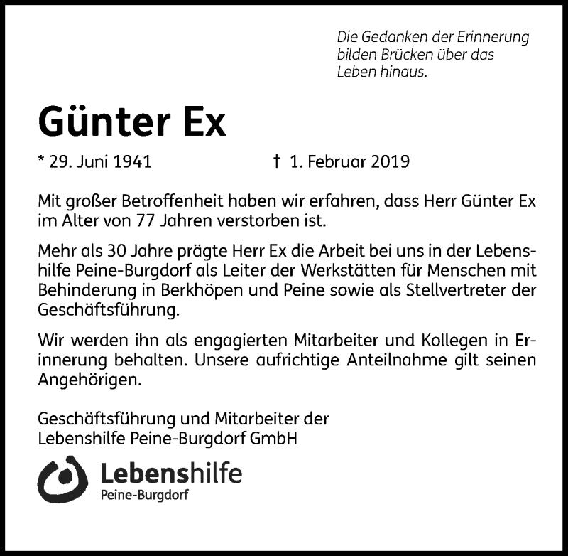 Traueranzeige für Günter Ex vom 09.02.2019 aus Peiner Allgemeine Zeitung