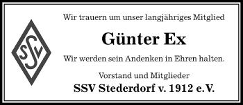 Traueranzeige für Günter Ex vom 07.02.2019 aus Peiner Allgemeine Zeitung
