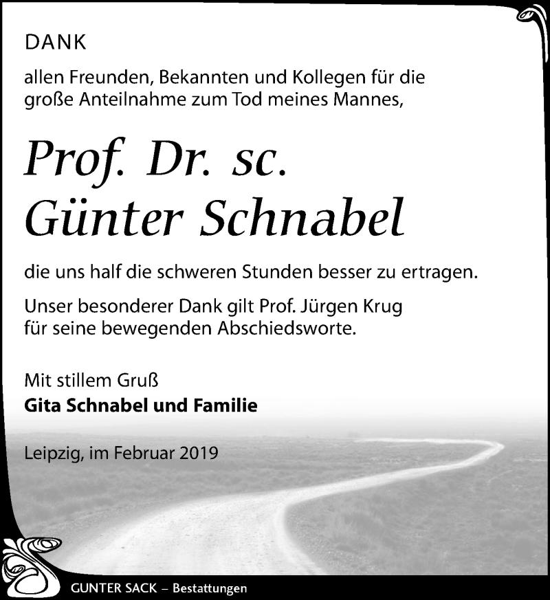 Traueranzeige für Günter Schnabel vom 02.02.2019 aus Leipziger Volkszeitung