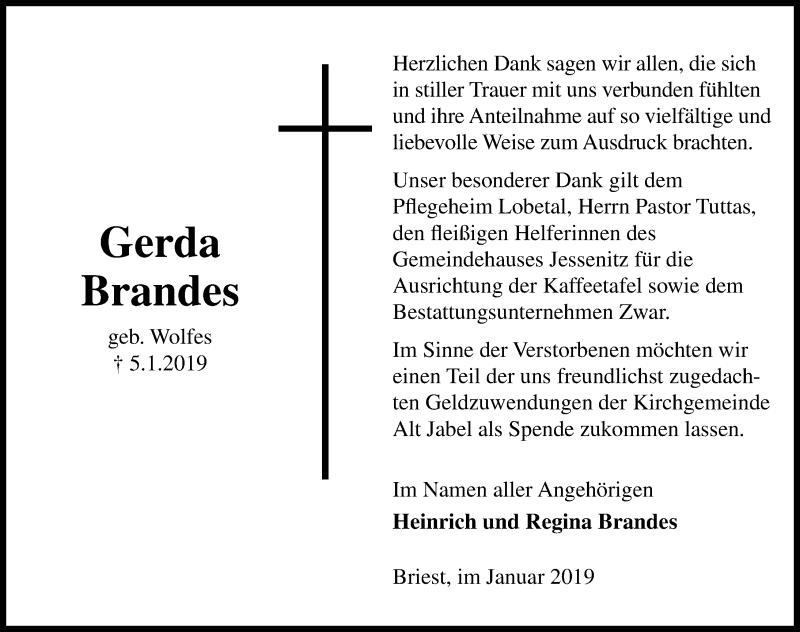 Traueranzeige für Gerda Brandes vom 02.02.2019 aus Hannoversche Allgemeine Zeitung/Neue Presse