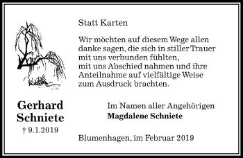 Traueranzeige für Gerhard Schniete vom 02.02.2019 aus Peiner Allgemeine Zeitung