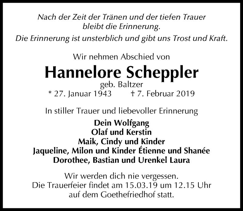Traueranzeige für Hannelore Scheppler vom 16.02.2019 aus Märkischen Allgemeine Zeitung