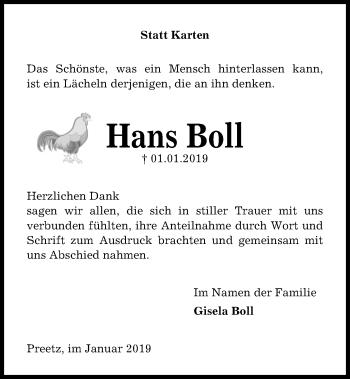 Traueranzeige für Hans Boll vom 26.01.2019 aus Kieler Nachrichten