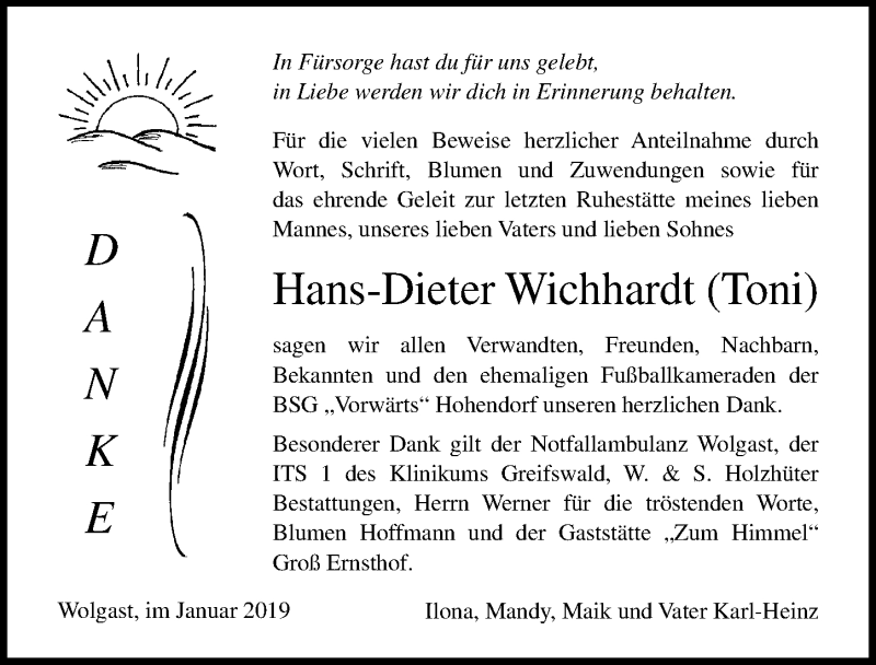Traueranzeige von  Hans-Dieter Wichhardt