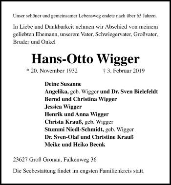 Traueranzeige für Hans-Otto Wigger vom 10.02.2019 aus Lübecker Nachrichten