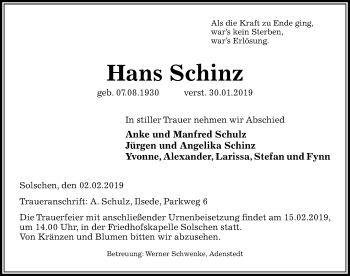 Traueranzeige für Hans Schinz vom 02.02.2019 aus Peiner Allgemeine Zeitung