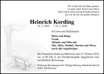 Traueranzeige für Heinrich Kording vom 26.02.2019 aus Schaumburger Nachrichten