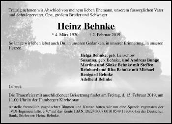 Traueranzeige für Heinz Behnke vom 10.02.2019 aus Lübecker Nachrichten