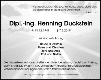 Traueranzeige für Henning Duckstein vom 09.02.2019 aus Aller Zeitung