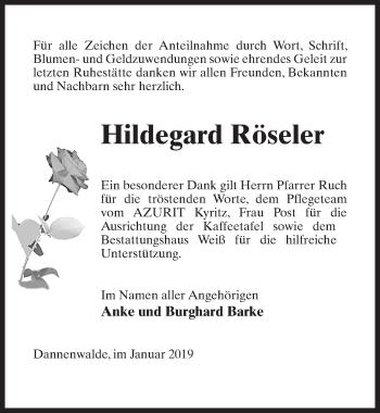 Traueranzeige für Hildegard Röseler vom 02.02.2019 aus Märkischen Allgemeine Zeitung