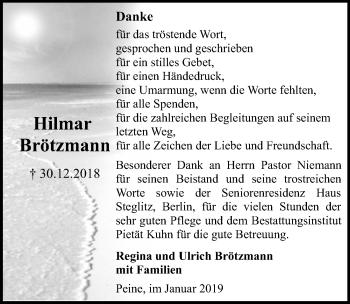 Traueranzeige für Hilmar Brötzmann vom 26.01.2019 aus Peiner Allgemeine Zeitung