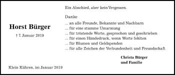Traueranzeige für Horst Bürger vom 26.01.2019 aus Kieler Nachrichten