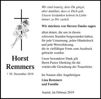 Traueranzeige für Horst Remmers vom 16.02.2019 aus