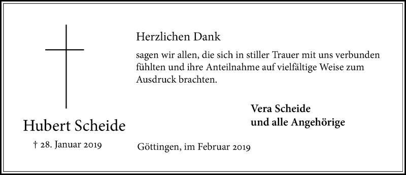 Traueranzeige für Hubert Scheide vom 23.02.2019 aus Göttinger Tageblatt