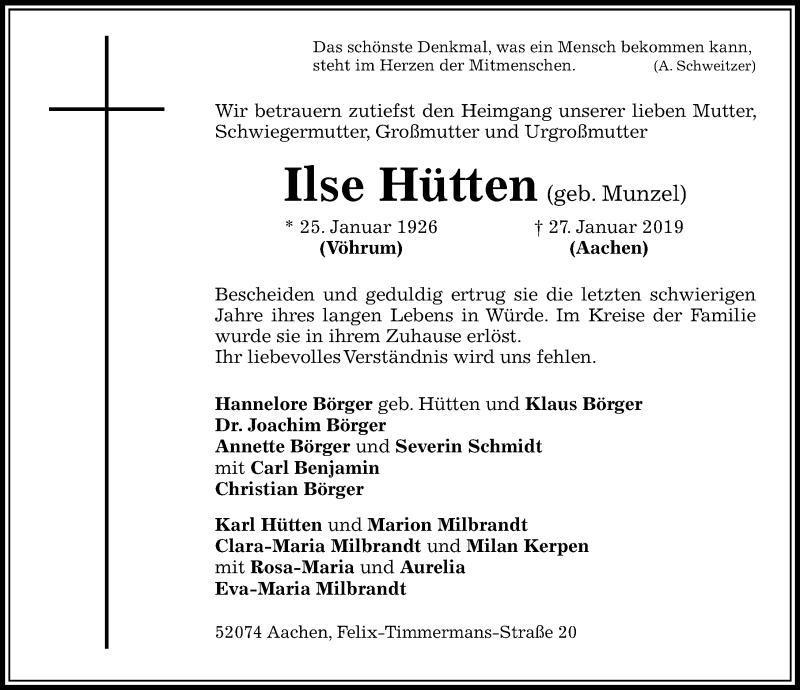 Traueranzeige für Ilse Hütten vom 02.02.2019 aus Peiner Allgemeine Zeitung