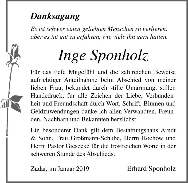 Traueranzeige von  Inge Sponholz