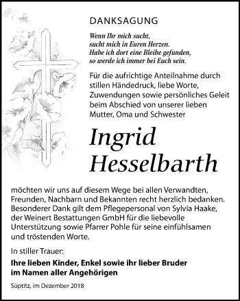 Traueranzeige für Ingrid Hesselbarth vom 26.01.2019 aus Torgauer Zeitung