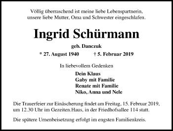 Traueranzeige für Ingrid Schürmann vom 10.02.2019 aus Lübecker Nachrichten