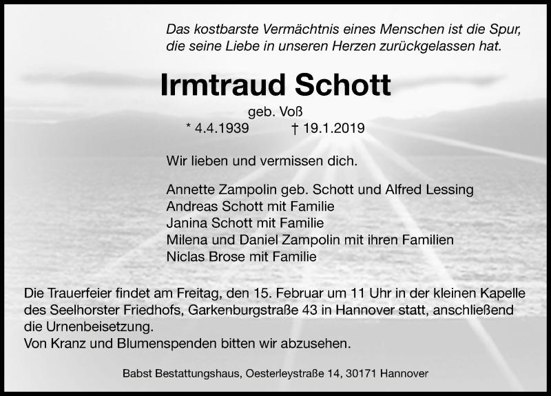 Traueranzeige für Irmtraud Schott vom 09.02.2019 aus Hannoversche Allgemeine Zeitung/Neue Presse