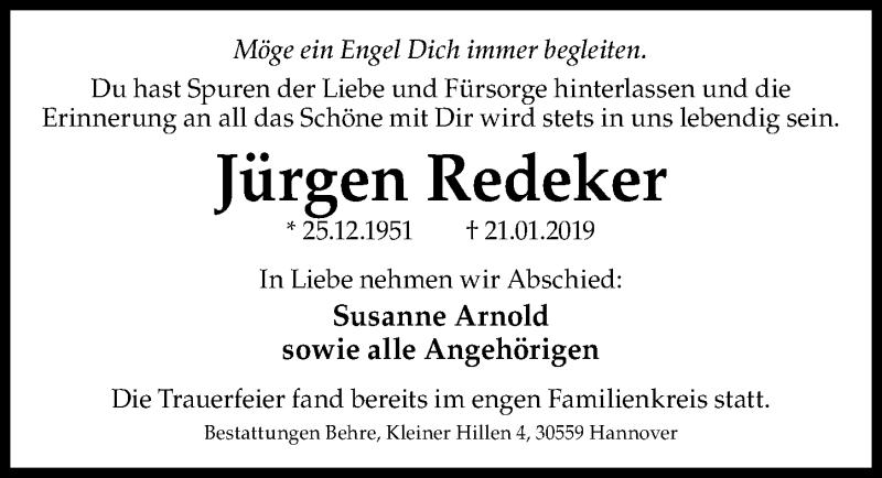 Traueranzeige für Jürgen Redeker vom 23.02.2019 aus Hannoversche Allgemeine Zeitung/Neue Presse
