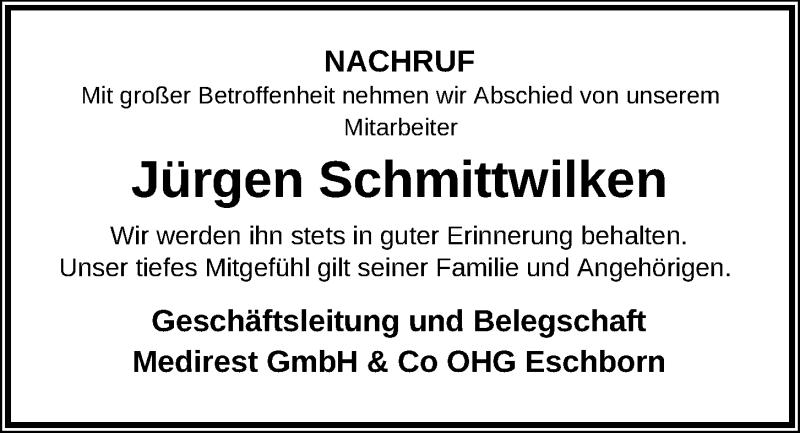 Traueranzeige für Jürgen Schmittwilken vom 01.02.2019 aus Kieler Nachrichten