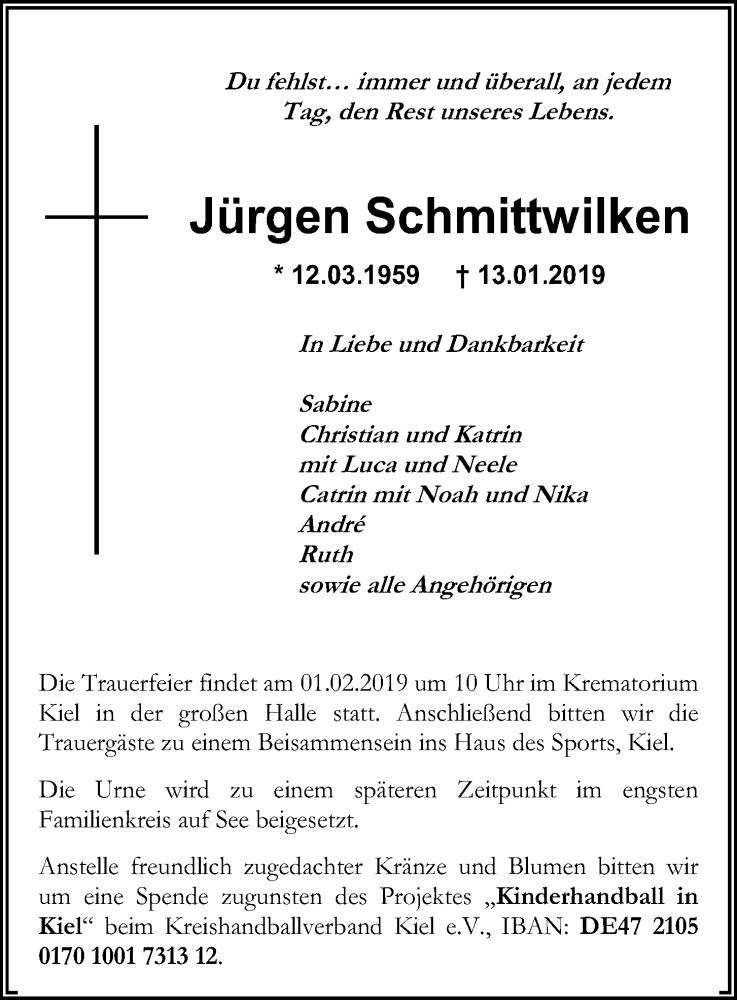 Traueranzeige für Jürgen Schmittwilken vom 26.01.2019 aus Kieler Nachrichten