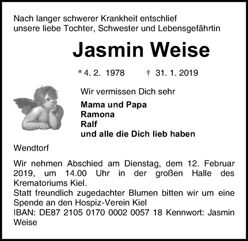 Traueranzeige für Jasmin Weise vom 09.02.2019 aus Kieler Nachrichten