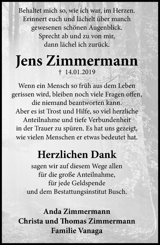 Traueranzeige für Jens Zimmermann vom 16.02.2019 aus