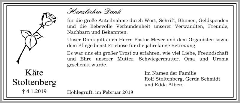 Traueranzeige für Käte Stoltenberg vom 06.02.2019 aus Kieler Nachrichten
