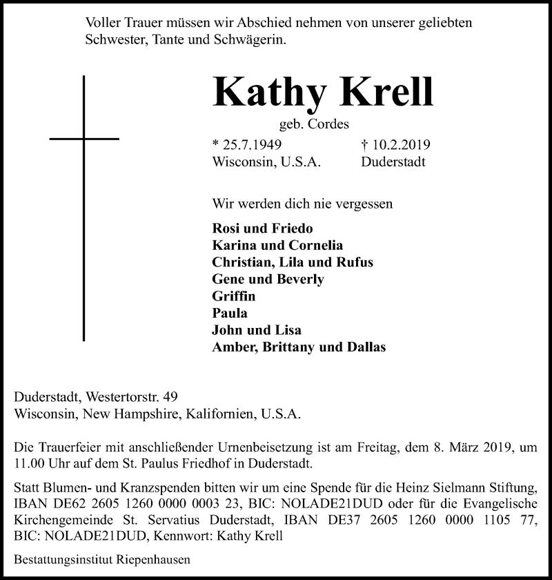 Traueranzeige für Kathy Krell vom 23.02.2019 aus Eichsfelder Tageblatt