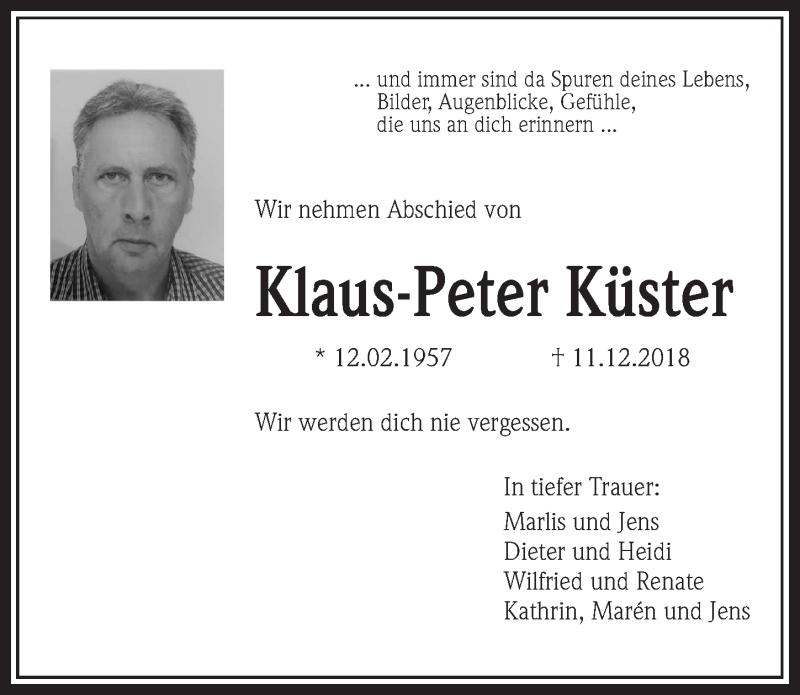 Traueranzeige für Klaus-Peter Küster vom 12.02.2019 aus Aller Zeitung