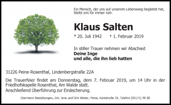 Traueranzeige für Klaus Salten vom 05.02.2019 aus Peiner Allgemeine Zeitung