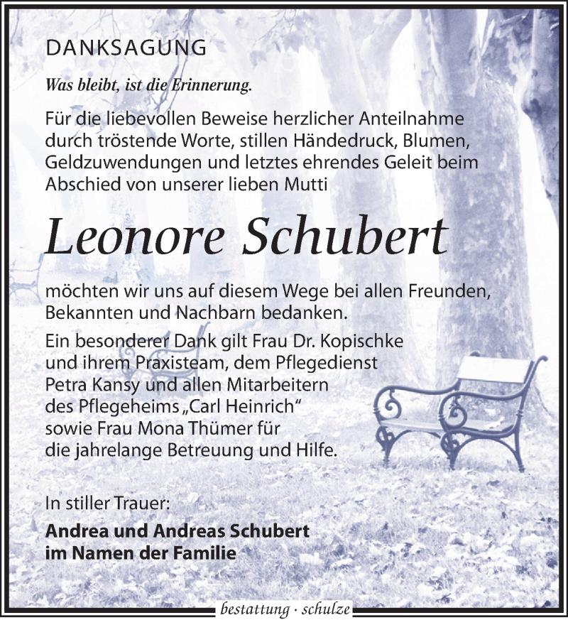 Traueranzeige für Leonore Schubert vom 16.02.2019 aus Leipziger Volkszeitung