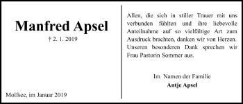Traueranzeige für Manfred Apsel vom 02.02.2019 aus Kieler Nachrichten