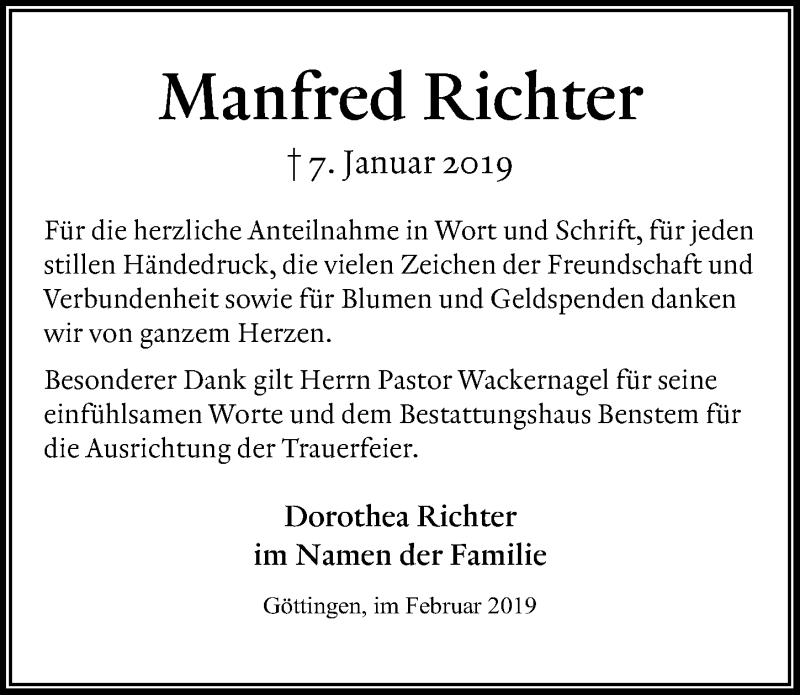 Traueranzeige für Manfred Richter vom 02.02.2019 aus