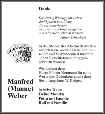 Traueranzeige für Manfred Weber vom 09.02.2019 aus Märkischen Allgemeine Zeitung