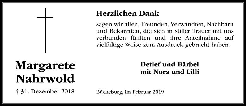 Traueranzeige für Margarete Nahrwold vom 02.02.2019 aus Schaumburger Nachrichten