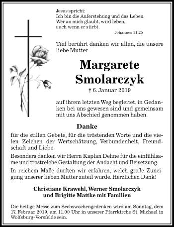 Traueranzeige für Margarete Smolarczyk vom 09.02.2019 aus Aller Zeitung