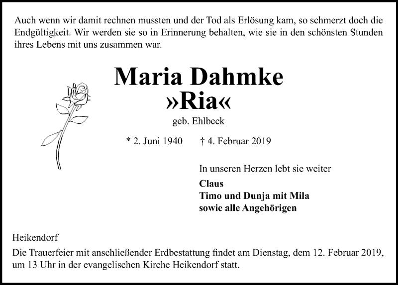 Traueranzeige für Maria Dahmke vom 09.02.2019 aus Kieler Nachrichten