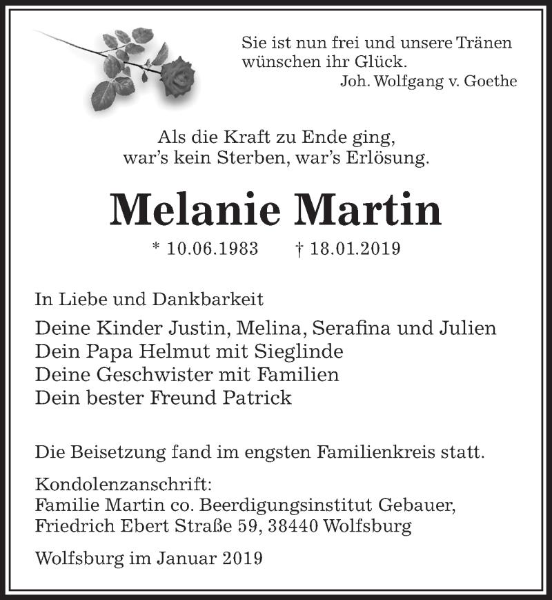 Traueranzeige für Melanie Martin vom 25.01.2019 aus Aller Zeitung